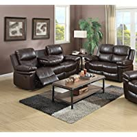 Kings Brand Furniture - Faux Leather 2-Piece Reclining Sofa & Loveseat Living Room Set, Wine Finish