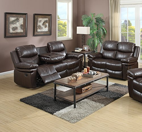 Kings Brand Furniture Faux Leather 2-Piece Reclining Sofa & Loveseat Living Room Set, Wine Finish