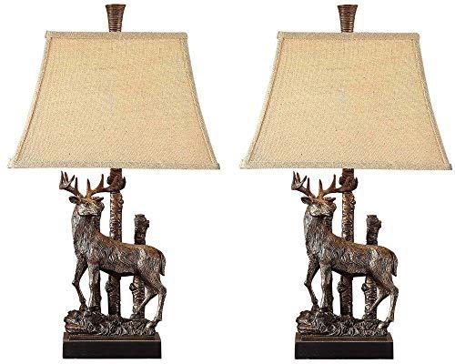 Rustic Deer Table Lamp - Pair of Two - Antler Buck Lodge Decor