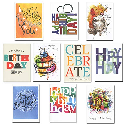 Birthday Cards Business Assorted 30 Cards (10 Designs) w/Greetings Inside USA Made, 32 Env ()