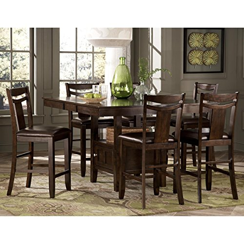 Balladonia 9 Piece 36-54 inch Counter Height Table Set in Dark Brown - Table, 8 Chairs
