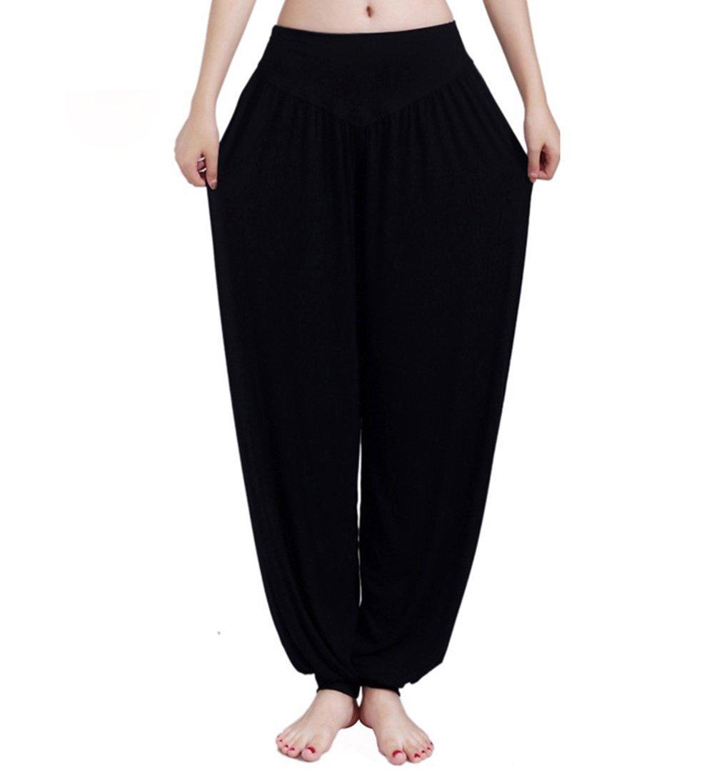 Alisa Femmes Yoga Harem Ruched Slouchy Pleine Longueur Doux Casual Hippie Bloomer Pant Pantalons Baggy Pantalons