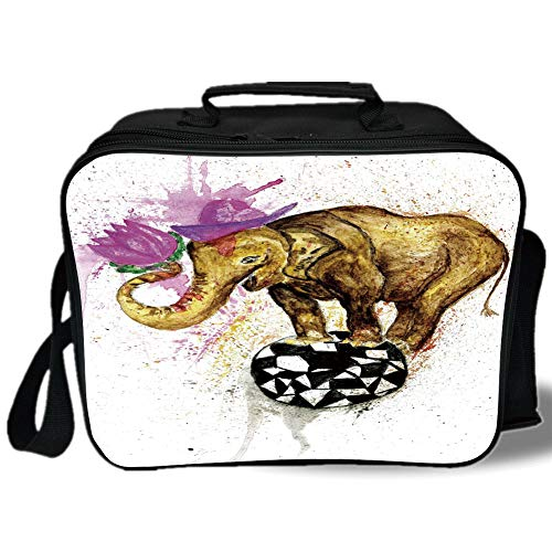 Insulated Lunch Bag,Elephant Decor,Giant Elephant on Minimalist Ball with Watercolor Flowers on Head Art Print,Multicolor,for Work/School/Picnic, Grey (Giants Pathfinder Stone)