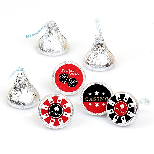 Las Vegas - Casino Party Round Candy Sticker Favors - Labels Fit Hershey's Kisses (1 Sheet of 108) ()