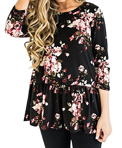3/4 Sleeve Floral Tunic - Uncinba Women 3/4 Sleeve Floral Print Tunic Tops Scoop Neck Patchwork Swing Loose Blouse Black Medium