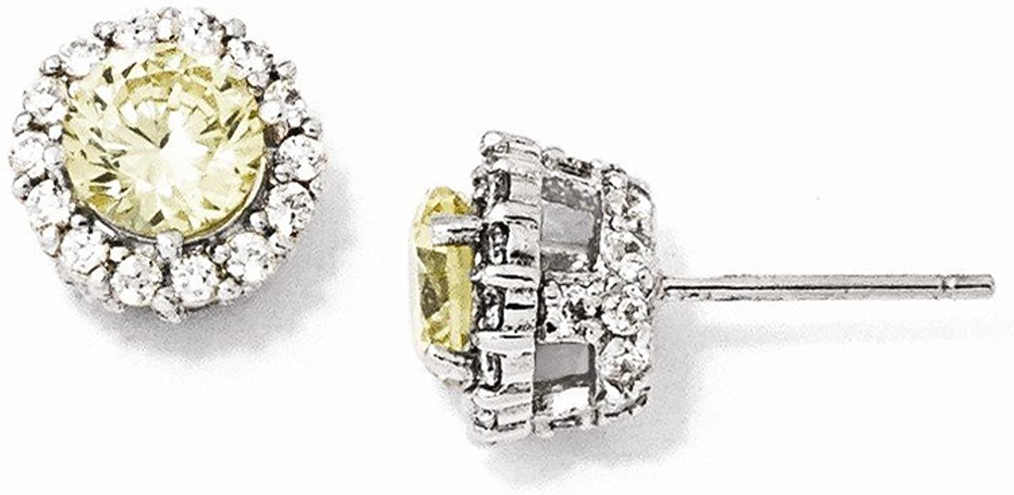 Cheryl M Sterling Silver Yellow CZ Post Earrings One Size