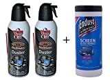 Falcon Dust-Off Compressed Gas Duster for Electronics Devices, 12 oz Cans, last extra long, 2 Packs + 70 Count Wipes