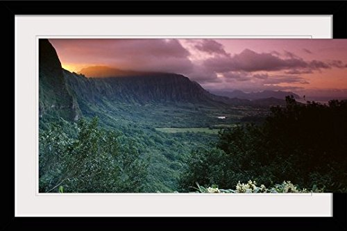 GreatBIGCanvas ''Hawaii, Oahu, Nuuanu Pali State Park, Ko'olau Mountains'' by Brent Black Photographic Print with Black Frame, 36'' x 24'' by greatBIGcanvas