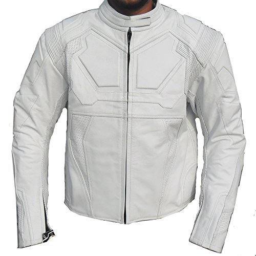 Mens White Leather Motorcycle Jacket - 7