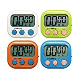 Xpeciall 11 Kitchen Timers Clock with Big Digits Loud Alarm Magnetic Backing and Stand with Large LCD Display for Cooking Baking (4 Pack, 4 Color)