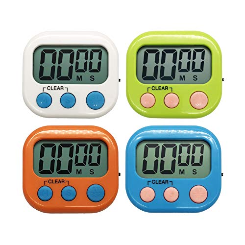 60 Sec Mask - Xpeciall 11 Kitchen Timers Clock with Big Digits Loud Alarm Magnetic Backing and Stand with Large LCD Display for Cooking Baking (4 Pack, 4 Color)