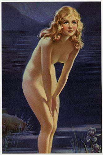 Vintage 1930s Original Mabel Rollins Harris Art Deco Pin-Up Print Lithograph Nude Water Nymph