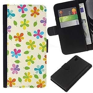 EJOY---La carpeta del tirón la caja de cuero de alta calidad de la PU Caso protector / Sony Xperia Z1 L39 / --Beige modelo colorido verde