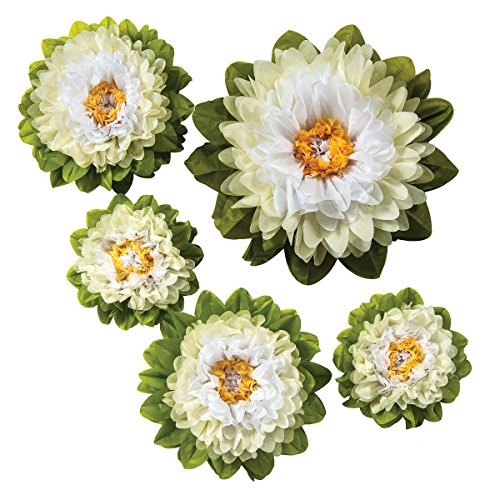 Luna Bazaar Large Tissue Paper Flowers (Multiple Sizes, Signature Whites, Set of - Oversized Flowers