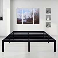 SLEEPLACE 14 inch Dura Comfort - 3000 / Steel Slat Non-Slip Support Bed Frame / Black/ Queen