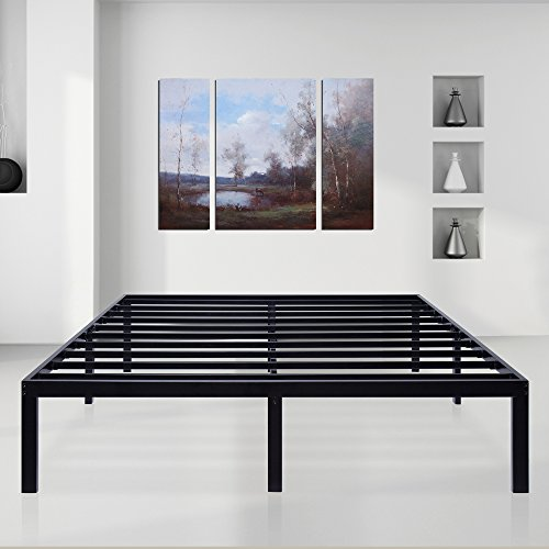 SLEEPLACE 14 inch Dura Comfort-T/Steel Slat Bed Frame/Black/