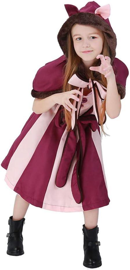 WEGCJU Niños Sonrientes Gato Púrpura Chica Cosplay Disfraces Alicia En El País De Las Maravillas Fantasía Gato Halloween Tema Fiesta Ropa,Red-S: Amazon.es: Hogar