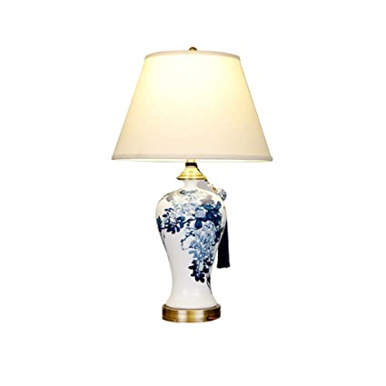 TD- Blue and white ceramic table lamp, living room table lamp ...