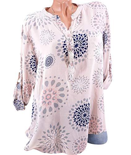Longue Imprimer Col T Plus Blouse V Manche Tunique Xinwcang Pink Femme Size Shirt Hauts Tops Elgant Chemisier 7q6pWPWCX