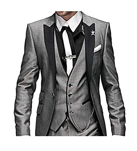DREFEEL One Button 3 Pieces Grey Wedding Suits Notch Lapel Mens Suits Groom Tuxedos ()