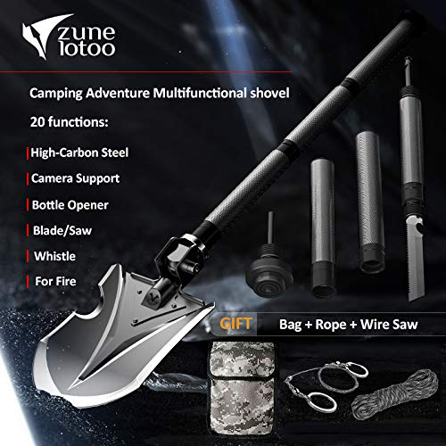 Zune Lotoo Tactical Folding Shovel(Annihilate F-A2), Survival Multi Tool,Metal Plate, for Camping Hiking Fishing Gardening Car Emergency by zunelotoo (Image #3)