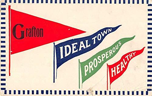 Grafton North Dakota Greetings Pennant Flags Vintage Postcard JC932296