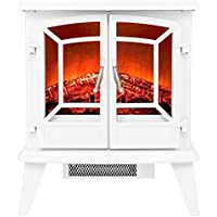 Golden Vantage 20 1500W Adjustable 5200 BTU Freestanding 2-Setting Portable Tempered Glass Electric Fireplace Stove Heater (White)