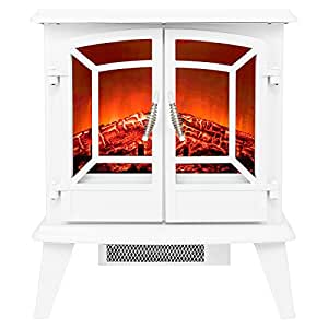 "Golden Vantage 20"" 1500W Adjustable 5200 BTU Freestanding 2-Setting Portable Tempered Glass Electric Fireplace Stove Heater (White)"