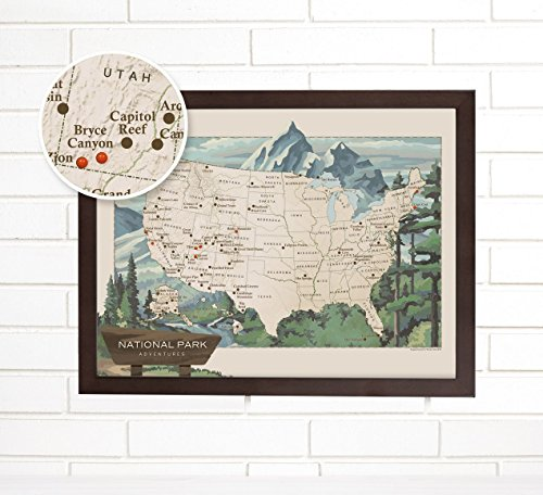 National Park Push Pin USA Travel Map Art by ImagineNations by Wendy Gold