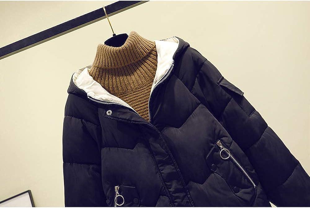 HAIGAFEW Invierno Nuevas Mujeres Largas Chaqueta Holgada Estilo Coreano Abajo Acolchado Pan Algodón Outwear Parka con Capucha Black
