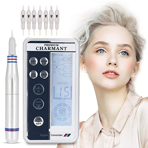 Permanent Lip Makeup - Electric Digital Permanent Eyebrow Lip Eyeliner Tattoo Pen Makeup Tattoo Machine with 6 Types Needle and LCD Display, Teaching CD (Silver)
