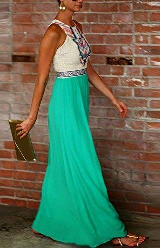 Damen Vintage Bohemian Folklore-Kleider A-Line Sommerkleid Lang Casual ärmellos Strandkleid Rock Minikleid Urlaub Kleid Cocktaikleid