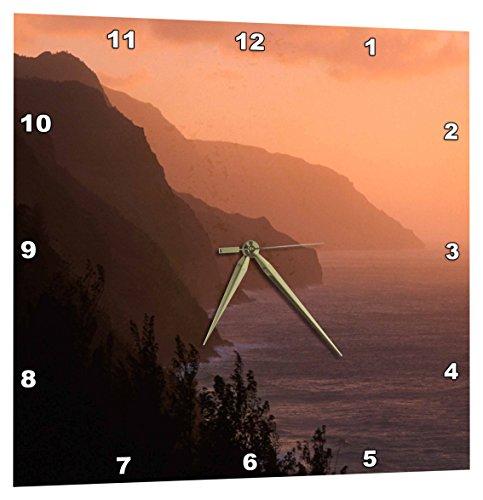 (3dRose DPP_205296_1 USA Hawaii Kauai Na Pali Cliffs at Sunset from Kalalau Trail Wall Clock, 10