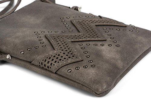 styleBREAKER 02012211 ladies and Denim shoulder Dark color studs with bag bag pattern bag shoulder zigzag mini Grey cutout bag Blue rF1qCR4xrw