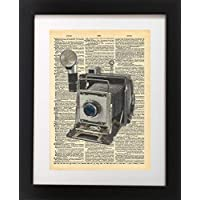 Vintage Camera Vintage Dictionary Print 8x10 inch Home Vintage Art Abstract Prints Wall Art for Home Decor Wall Decorations For Living Room Bedroom Office Ready-to-Frame