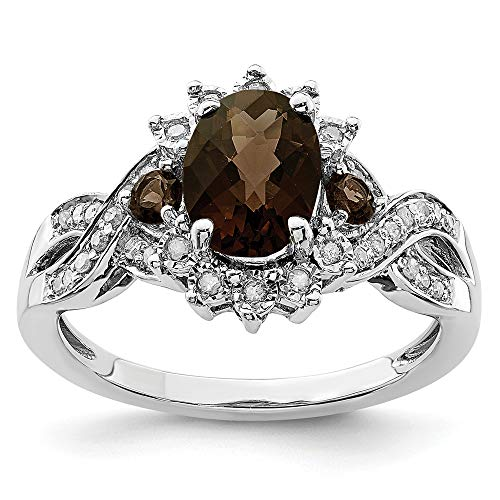 925 Sterling Silver Diamond Oval Smoky Quartz Band Ring Size 7.00 Gemstone Fine Jewelry Gifts For Women For Her ()