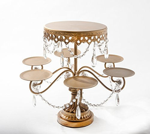 Opulent Treasures ( Antique Gold )Tiered Dessert Stand, Chandelier Accents, Cupcake, Cake Pop, Mini Cake Wedding Dessert Tray with 7 Display Plates