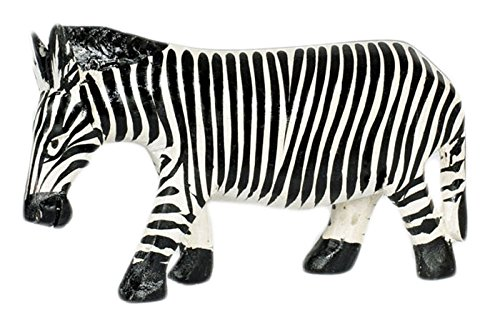 (Maisha small Handcarved Wood Zebra Figurine,Painted Black & White, Fair Trade, Africa)