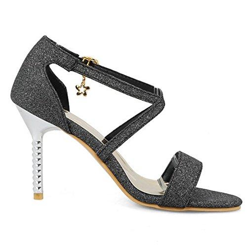 Coolcept Women Evening Sandals Stiletto Heel Black A0G3XHOe