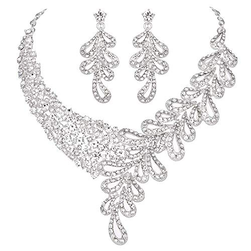Yucii Womens Rhinestone Leaf Scarf Shape Necklace and Earrings Sets for Ball Party Dress,Clear (Crystal Horseshoe Swarovski Clear Design)