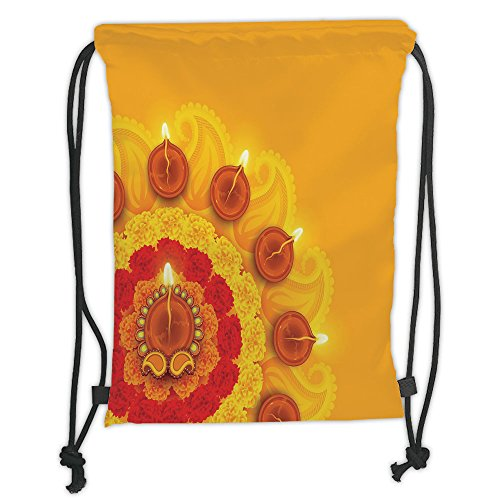 Custom Printed Drawstring Sack Backpacks Bags,Diwali,Paisley Design with Flowers Diwali Religious Festival Burning Candles Print Decorative,Marigold Orange Soft Satin,5 Liter Capacity,Adjustable Strin by iPrint