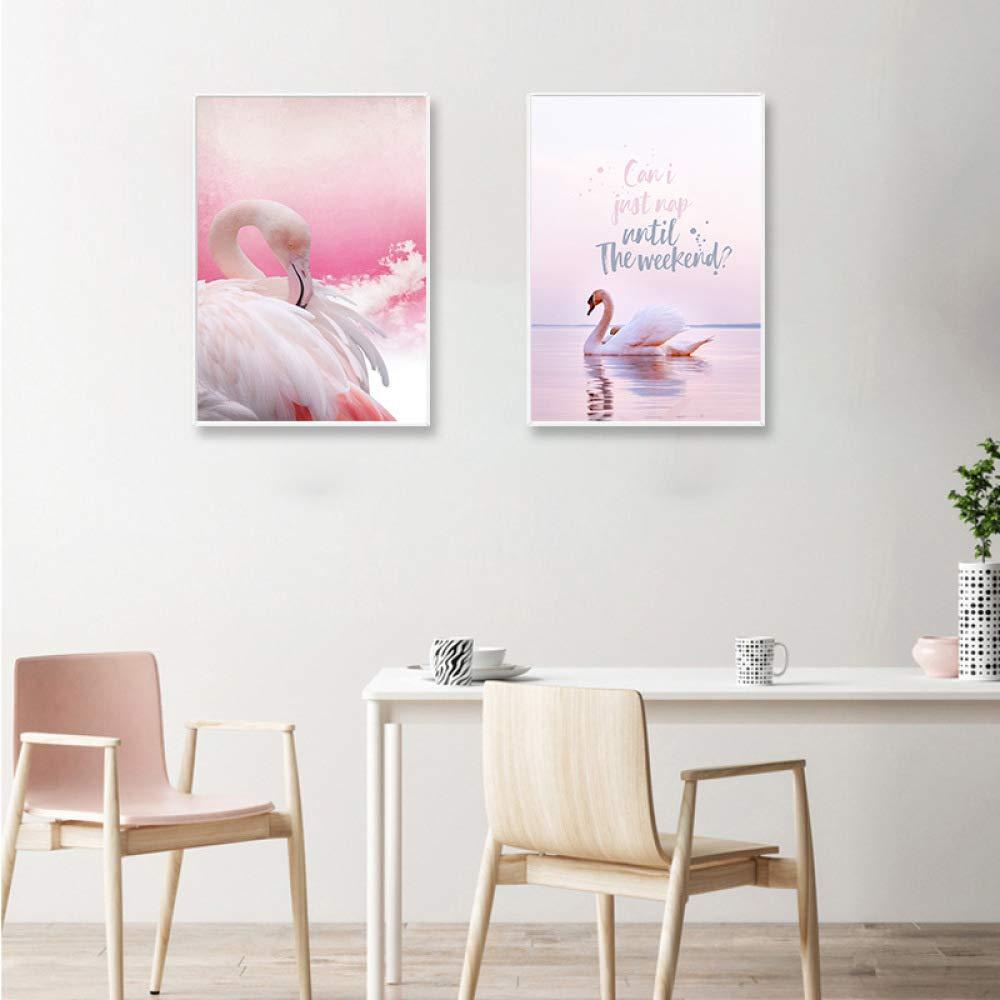CWJ Pintura Triple del Flamenco Pintura Minimalista Moderno, Pintura Flamenco del pórtico enmarcada Impermeable y a Prueba de Humedad, versión Vertical de la Pintura Decorativa de la Sala de Estar del Hotel,B,40  60 42b0f4
