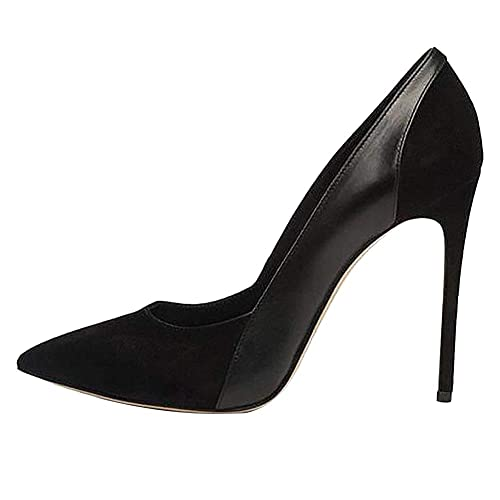 Themost Womens Suede Patent Leather Stitching High Heels Closed Pointy Toe Stiletto  Pumps Shoes(Black d243f0c46332
