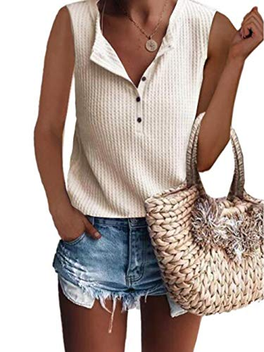 Famulily Women's Flowy Waffle Knit Tank Tops Loose Button Up V Neck Henley Shirts Beige -