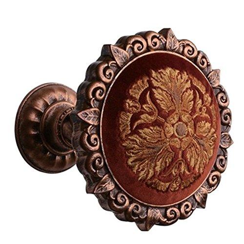 EleCharm 1Pair Flannelette embroidered High Grade Medallion Holdbacks Wall Hook Drapery (Aged Copper)