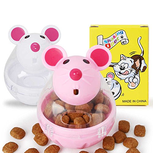 Dog Feeding - Cute Cat Tumbler Toy Automatic Food Dispenser Funny Mouse Shape Plastic Container Small Pet Gift - Calendar Carpet Ball Pouch Platform Small Medium Slow Disk Chart Bottles Meal Ea