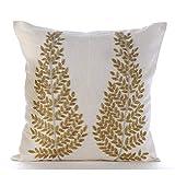 "Luxury Ivory Pillow Shams, Zardozi & Beaded Tree Ethnic Glitter Pillow Shams, 24""x24"" Pillow Sham, Square Cotton Linen Shams, Modern Pillow Shams - Binary Tree Home"