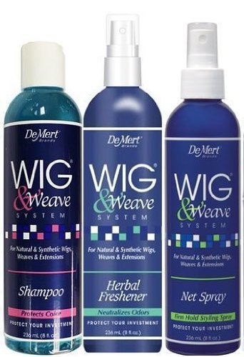 Price comparison product image Demert Wig & Weave TRIO SET (Net Spray, Shampoo, Herbal Freshner) Plus 3 Free of Apple EYE Pencil Color: Grey