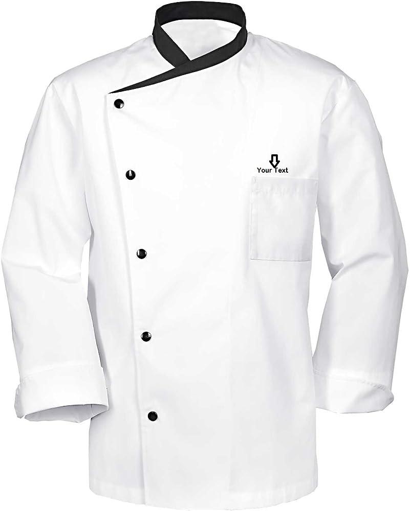 Chaqueta de chef de cocina (grabado con nombre personalizable) White Long Sleeves L: Amazon.es: Ropa y accesorios