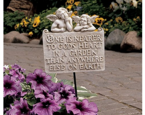 Religious Sign Cherub Child Angels Home Garden Ground Stake and Wall Plaque